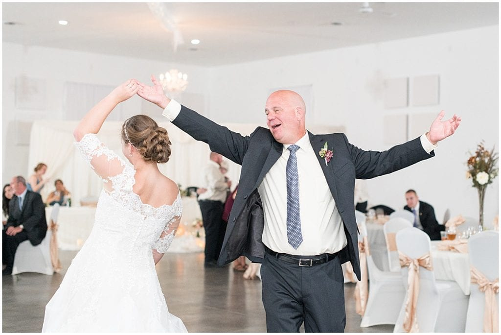 Father daughter dance photos at Meadow Springs Manor wedding in Francesville, Indiana