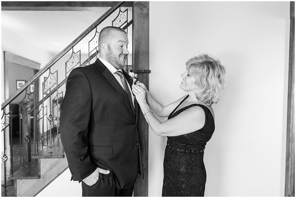 Groom getting ready photos at Meadow Springs Manor wedding in Francesville, Indiana