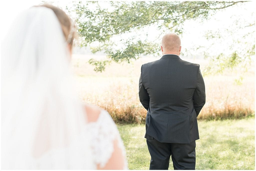 First look photos at Meadow Springs Manor wedding in Francesville, Indiana