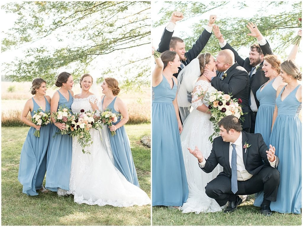 Bridal party photos at Meadow Springs Manor wedding in Francesville, Indiana