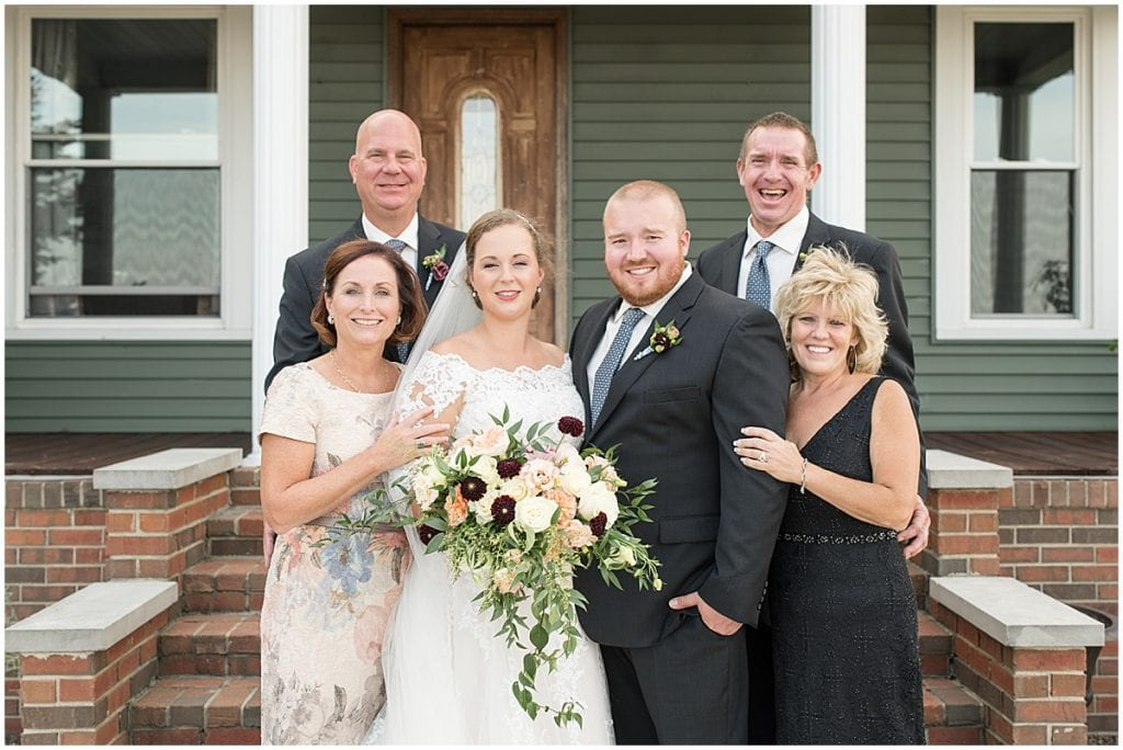 Family photos at Meadow Springs Manor wedding in Francesville, Indiana