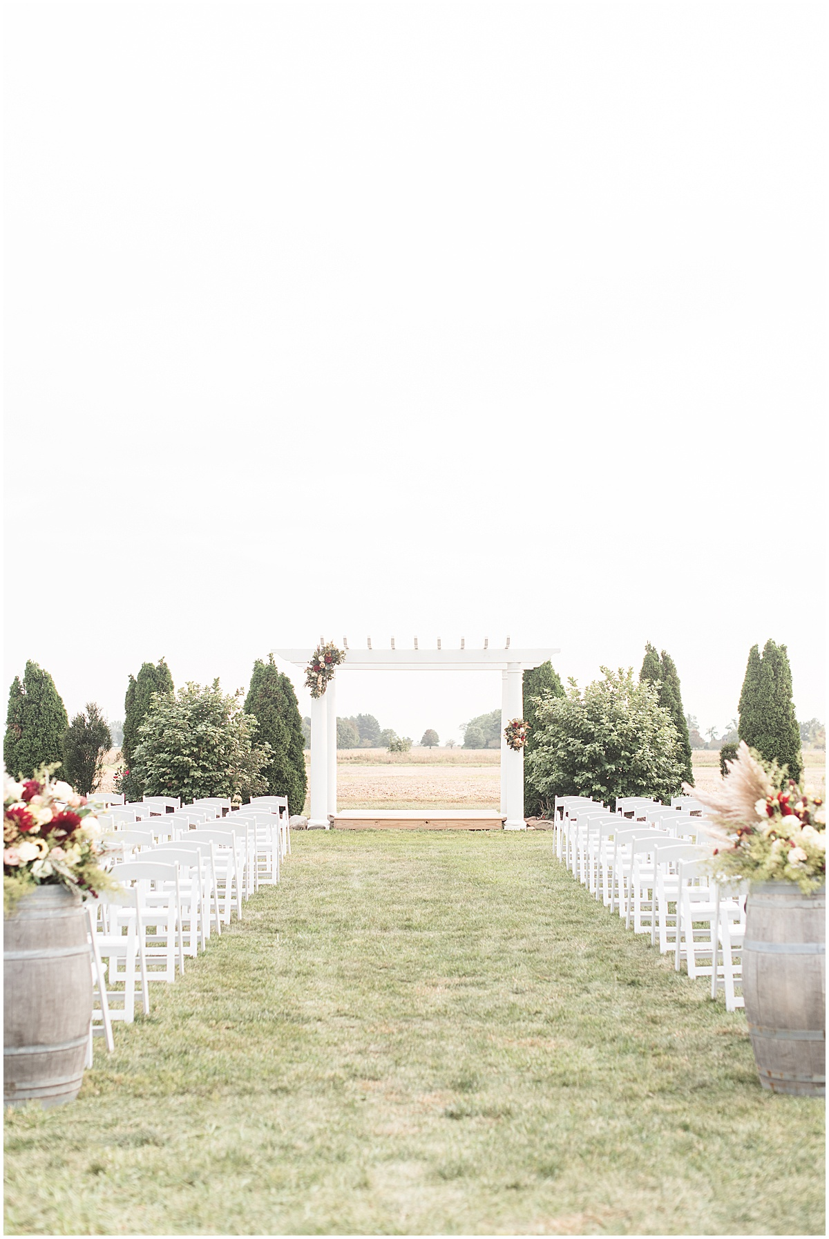 Ceremony detail photos at Meadow Springs Manor wedding in Francesville, Indiana