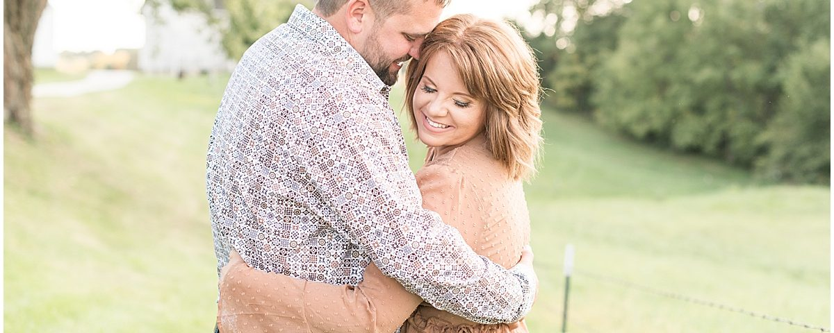 Country/private property engagement photos in Delphi, Indiana