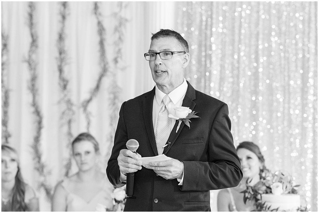 Father of bride speech during reception in Rensselaer, Indiana at the Jasper County fairgrounds