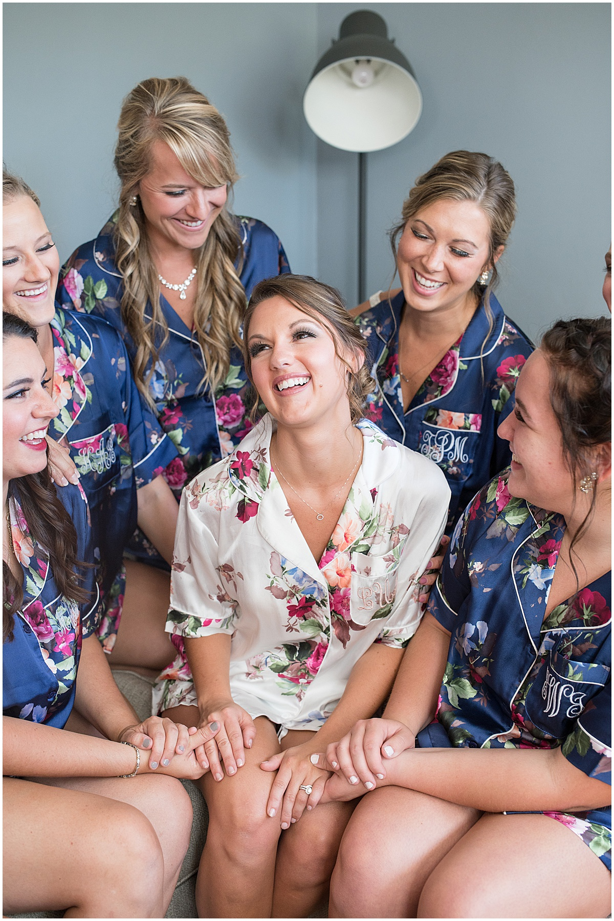 Bride and bridesmaids get ready before ceremony at Trinity United Methodist Church in Rensselaer, Indiana