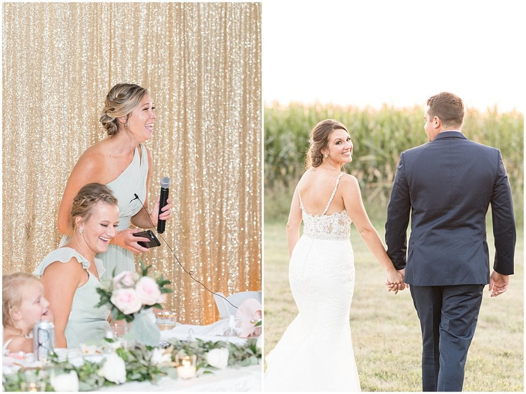 Bridesmaid speech during reception in Rensselaer, Indiana at the Jasper County fairgrounds