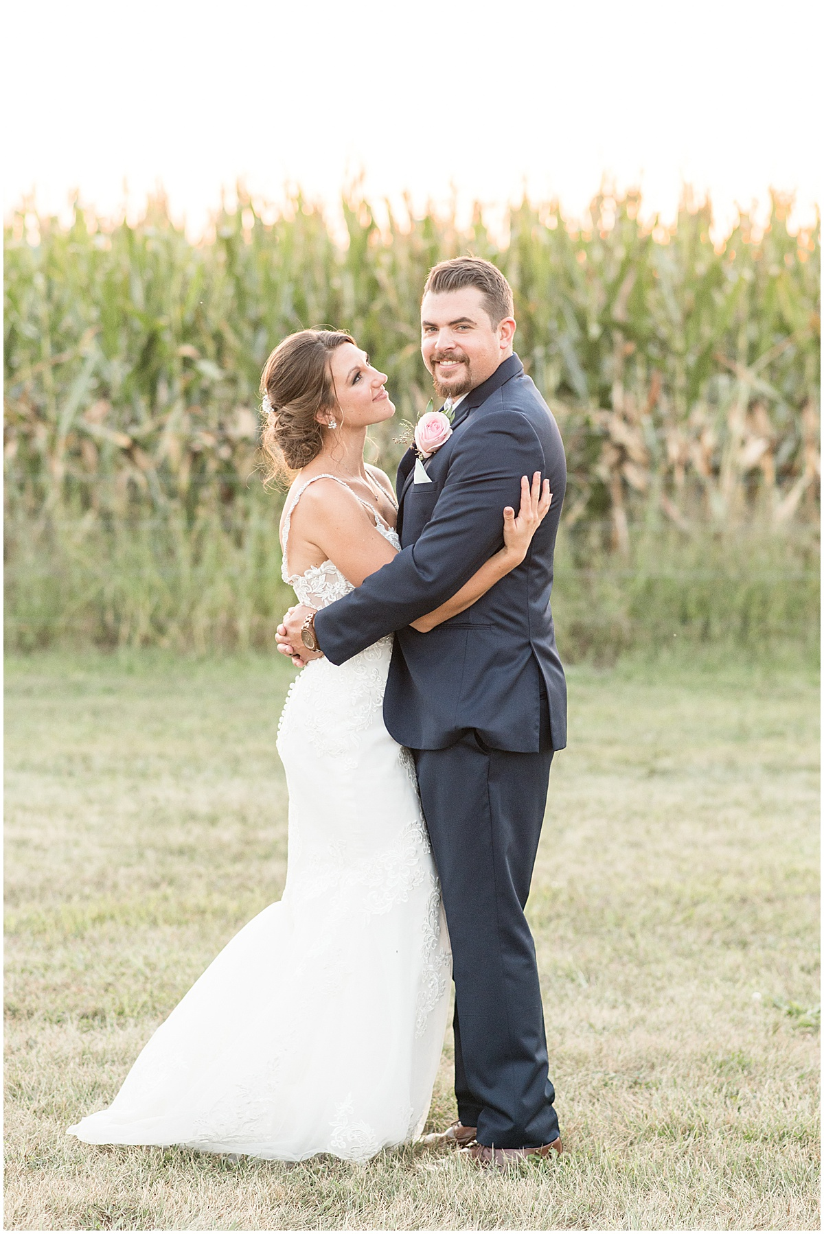 Bride and groom sunset photos at the Jasper County Fairgrounds in Rensselaer, Indiana