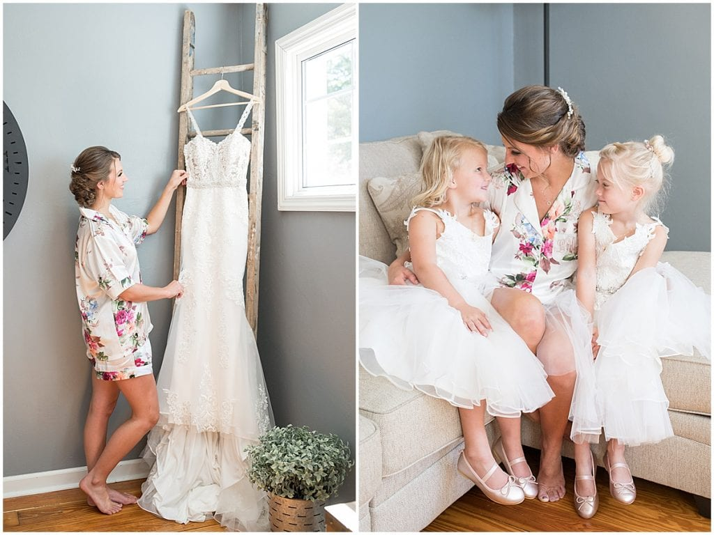 Bride and flower girls get ready before ceremony at Trinity United Methodist Church in Rensselaer, Indiana