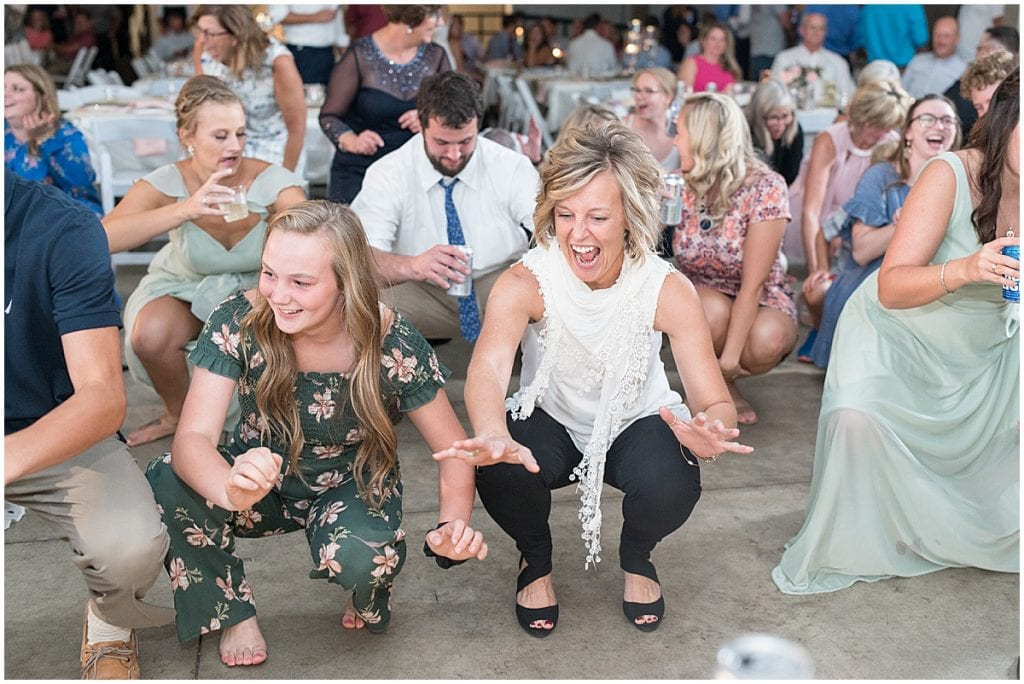 Guests dancing during reception in Rensselaer, Indiana at the Jasper County fairgrounds
