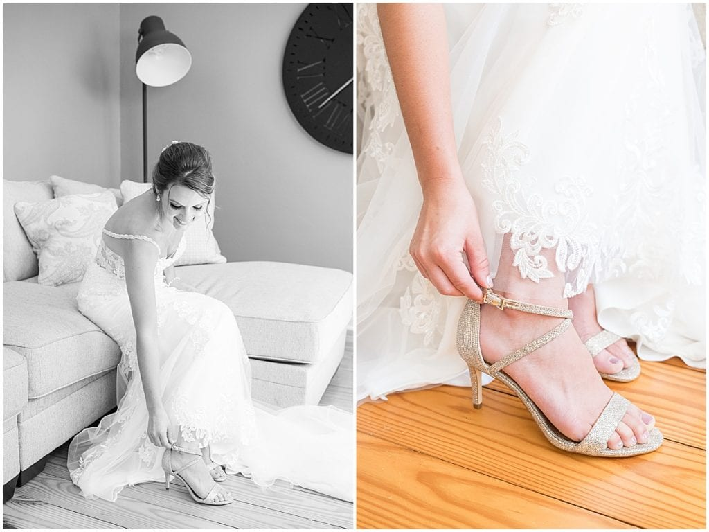 Bride getting ready for her ceremony at Trinity United Methodist Church in Rensselaer, Indiana.