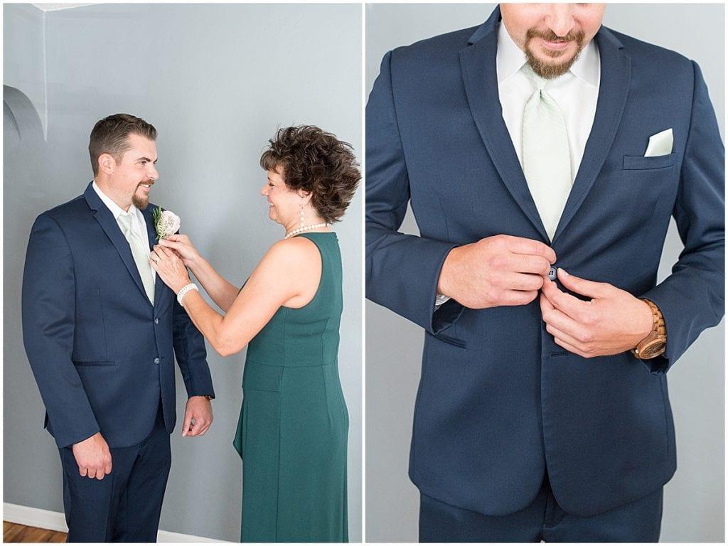 Groom getting ready before Rensselaer, Indiana wedding