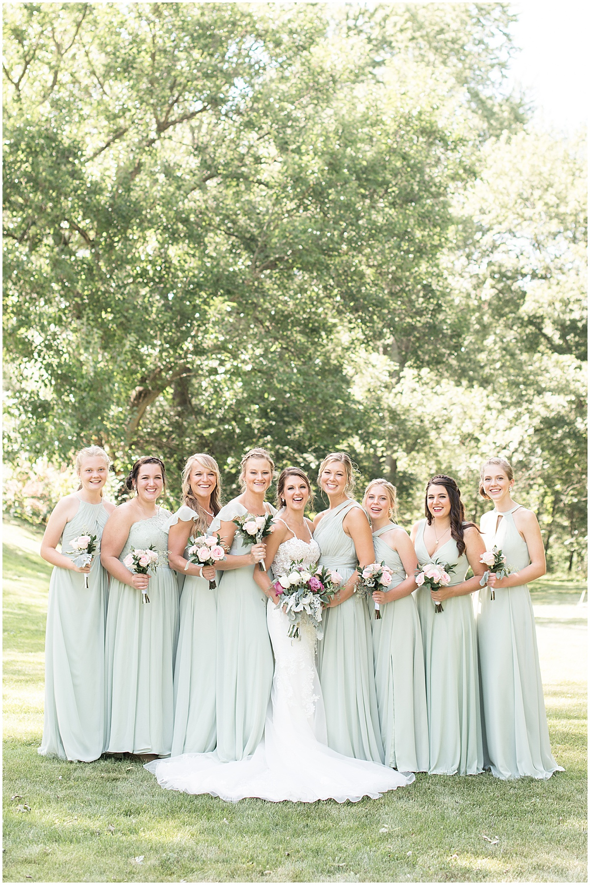Bride and bridesmaids ready for Rensselaer, Indiana wedding