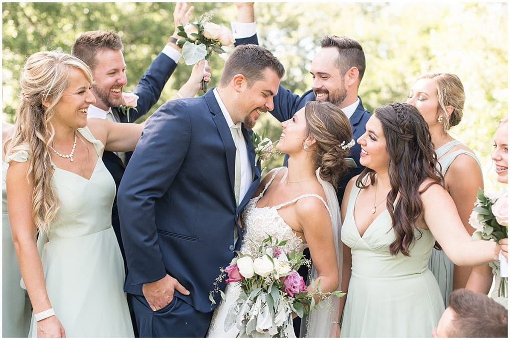 Bridal party excited for the bride and groom at Rensselaer, Indiana wedding