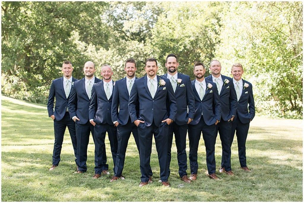Groom and groomsmen at Rensselaer, Indiana wedding