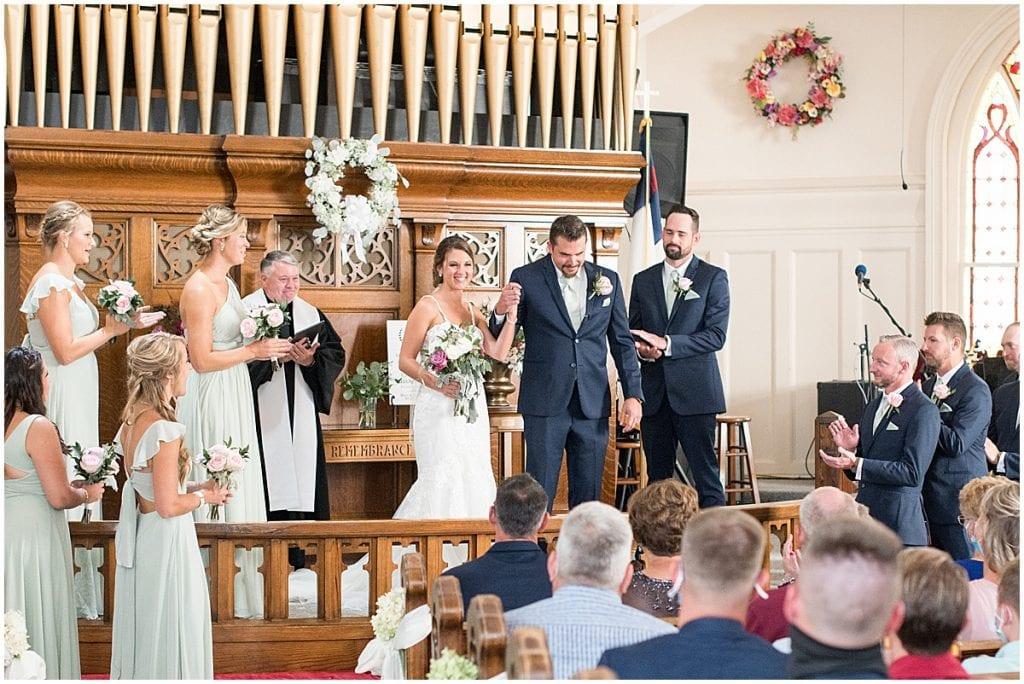 Wedding ceremony at Trinity United Methodist Church in Rensselaer, Indiana