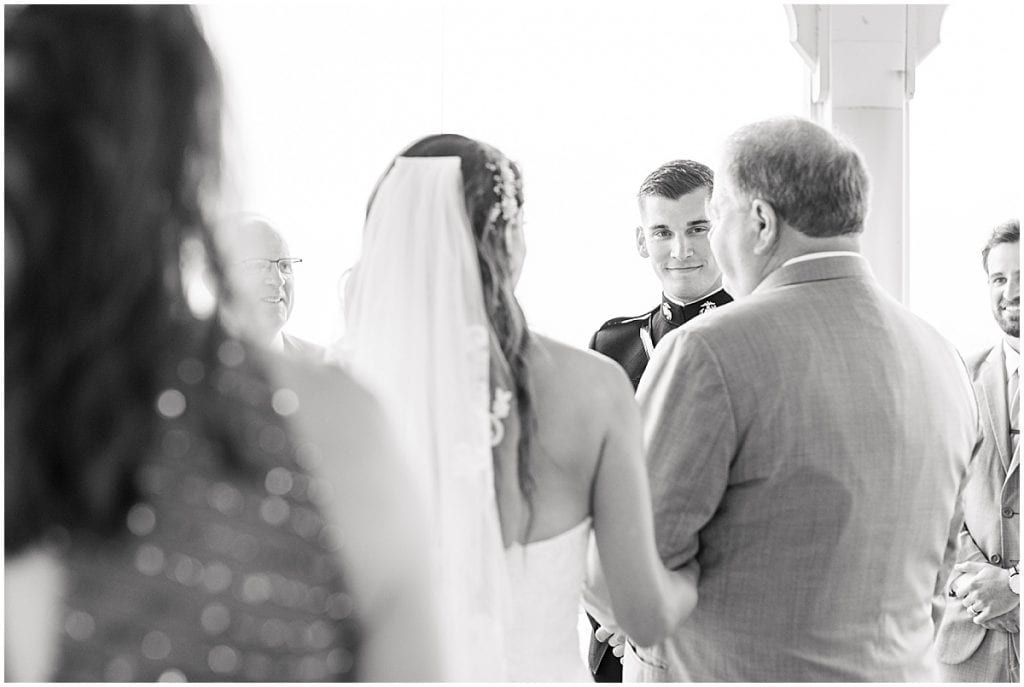 Groom's reaction to bride walking down the aisle at the Lighthouse Restaurant in Cedar Lake, Indiana