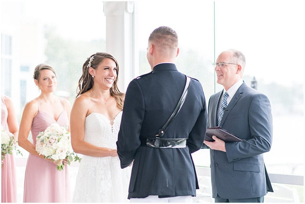 Wedding ceremony at the Lighthouse Restaurant in Cedar Lake, Indiana