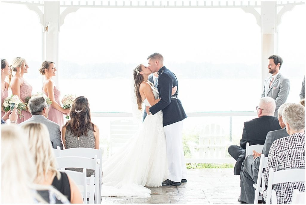 Wedding kiss during wedding at the Lighthouse Restaurant in Cedar Lake, Indiana