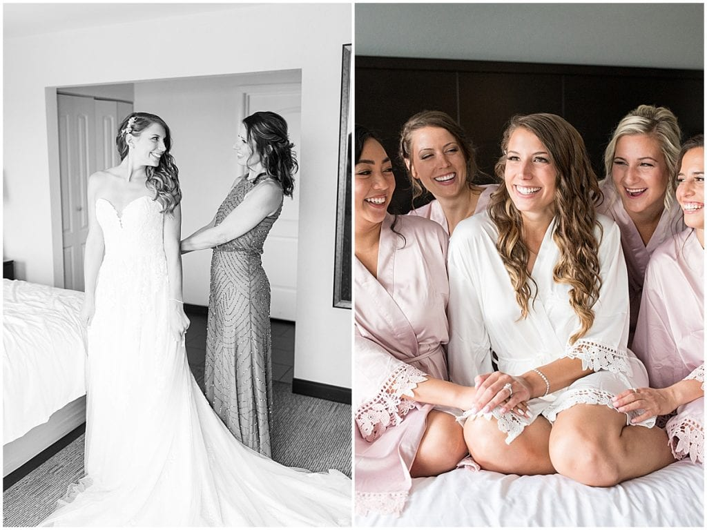 Bride and bridesmaids getting ready for wedding at the Lighthouse Restaurant in Cedar Lake, Indiana