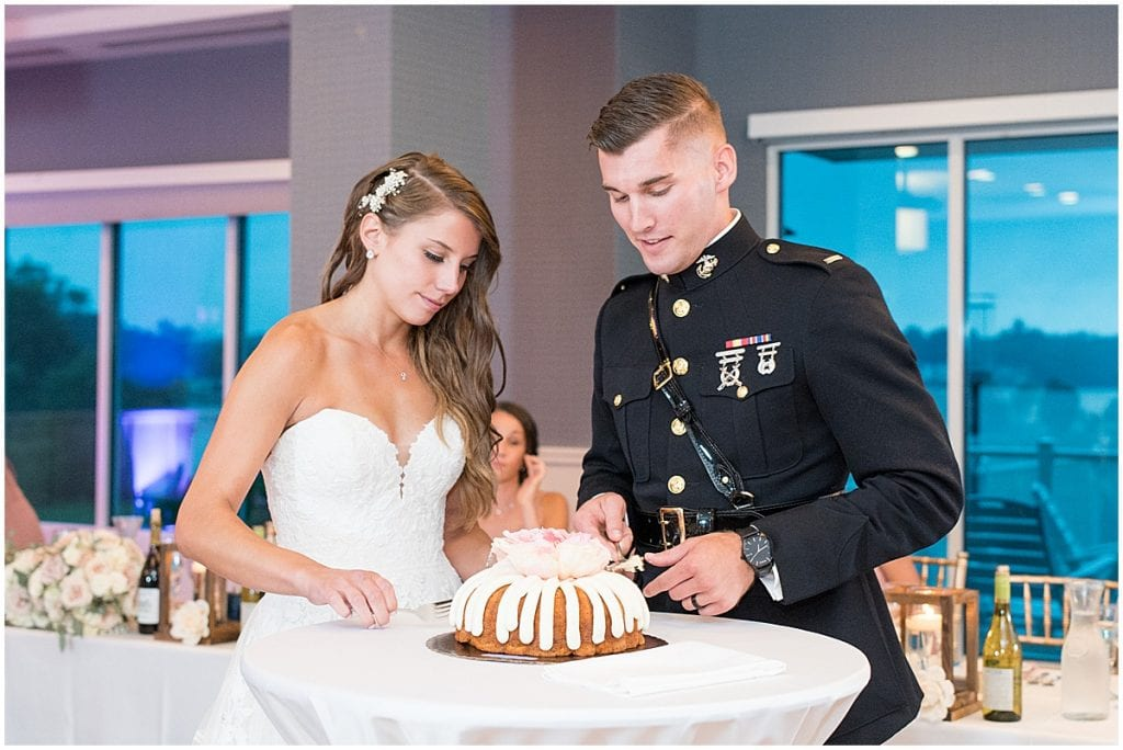 Cake cutting at reception at the Lighthouse Restaurant in Cedar Lake, Indiana