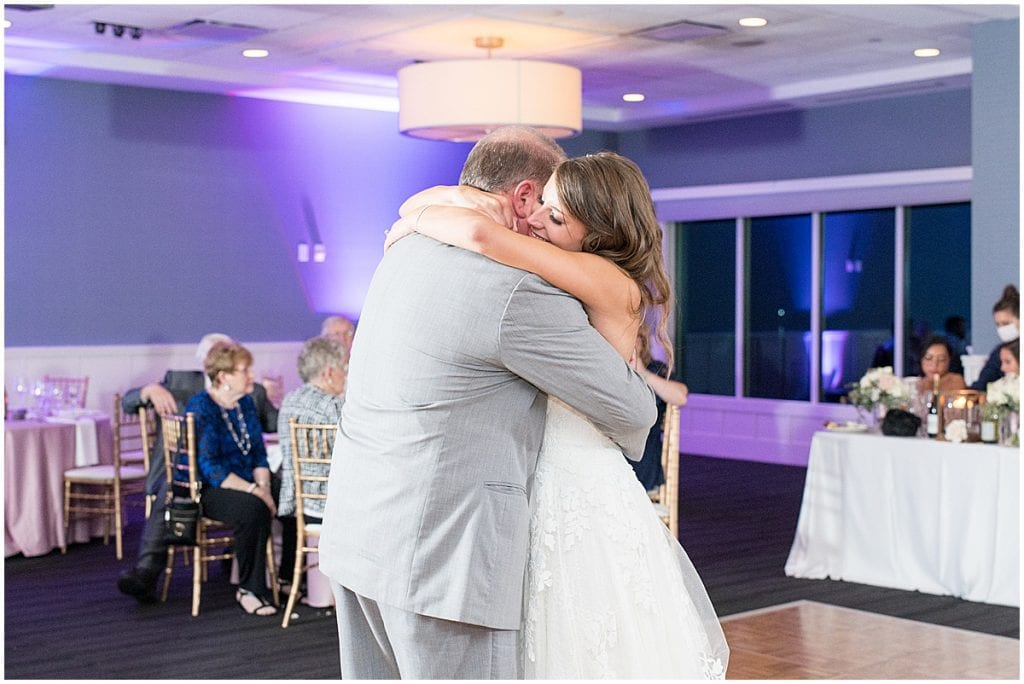 Father daughter dance during reception at the Lighthouse Restaurant in Cedar Lake, Indiana