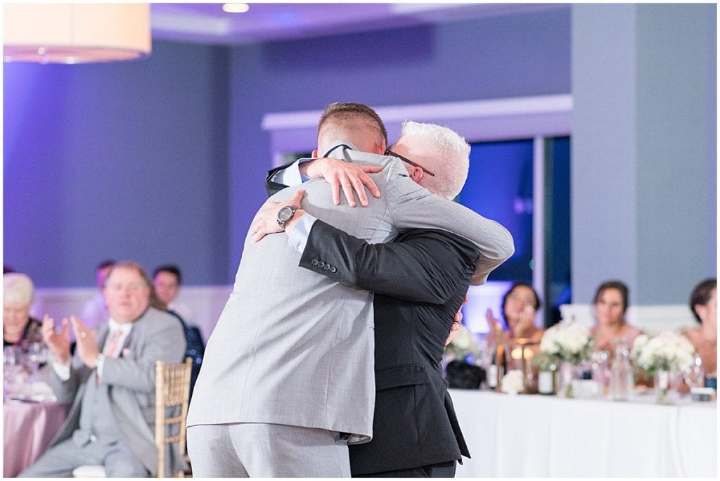 Groom special dance during reception at the Lighthouse Restaurant in Cedar Lake, Indiana