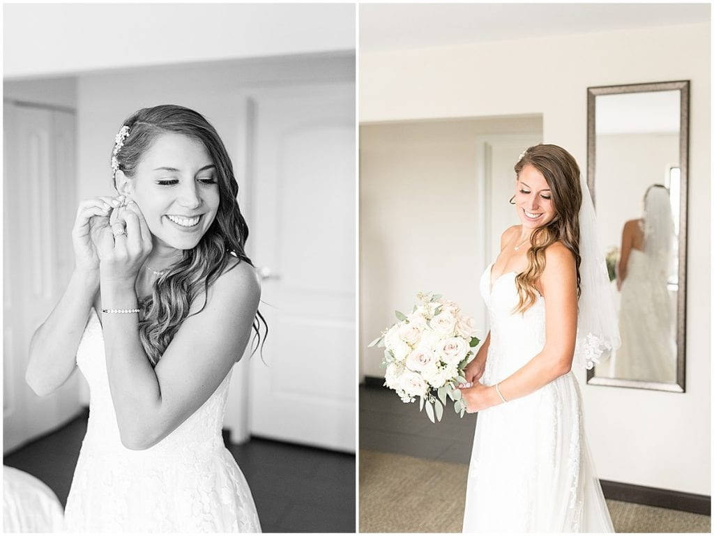 Bridal portraits before the wedding at the Lighthouse Restaurant in Cedar Lake, Indiana