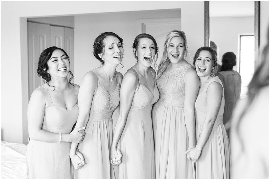 Bridesmaids first look reaction to bride in Cedar Lake, Indiana
