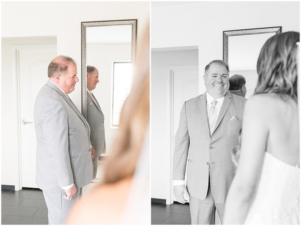 Father first look reaction to bride before the wedding at the Lighthouse Restaurant in Cedar Lake, Indiana