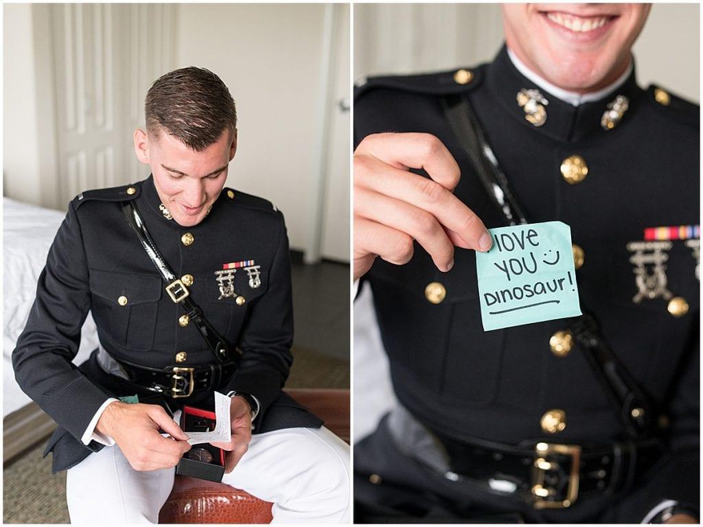 Groom opening gift before his wedding in Cedar Lake, Indiana
