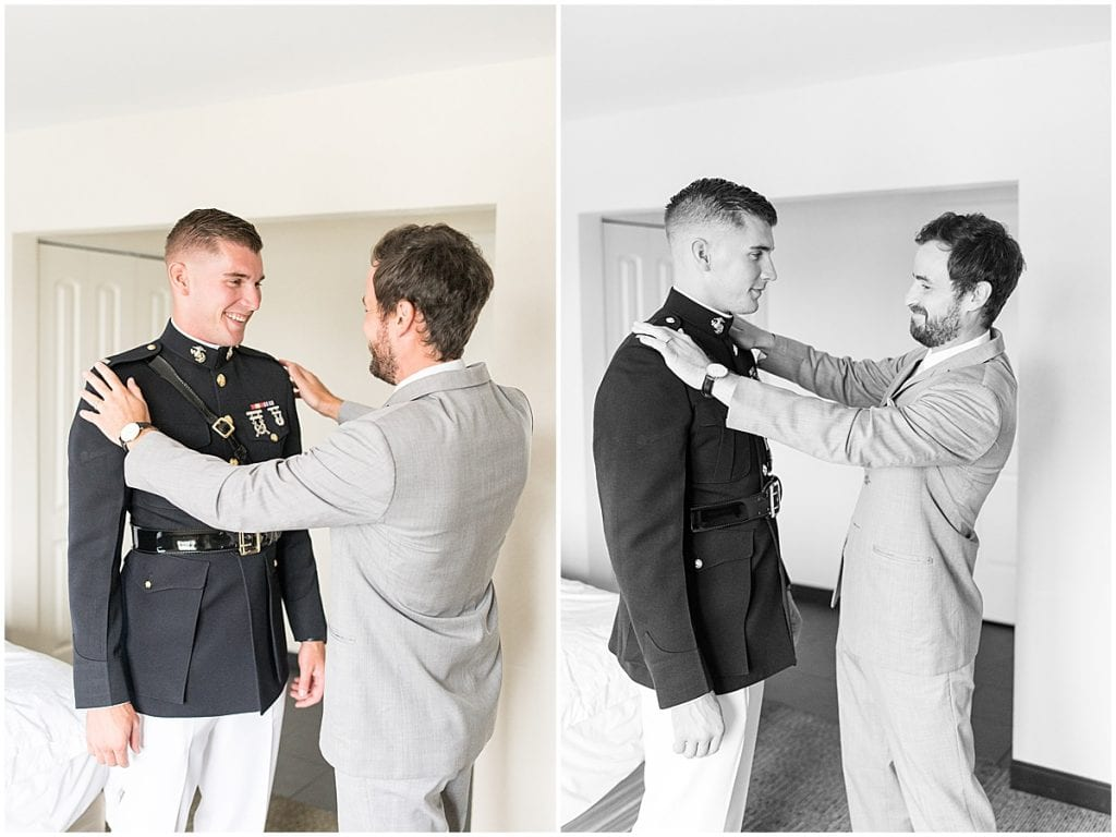 Best man helping groom get ready for his wedding at the Lighthouse Restaurant in Cedar Lake, Indiana