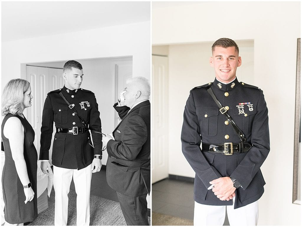 Groom portraits prior to his wedding at the Lighthouse Restaurant in Cedar Lake, Indiana