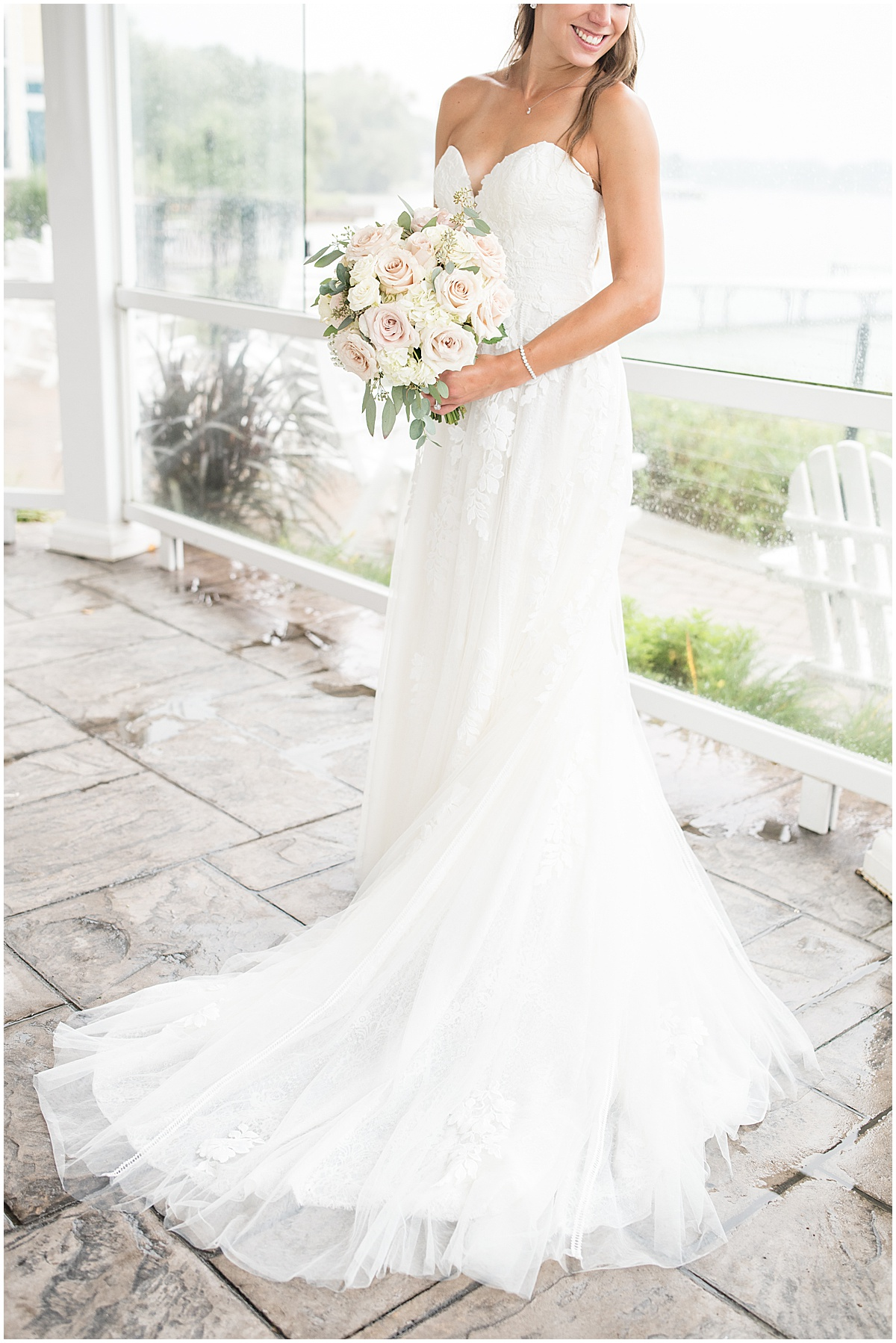 Bridal portrait prior to wedding at the Lighthouse Restaurant in Cedar Lake, Indiana