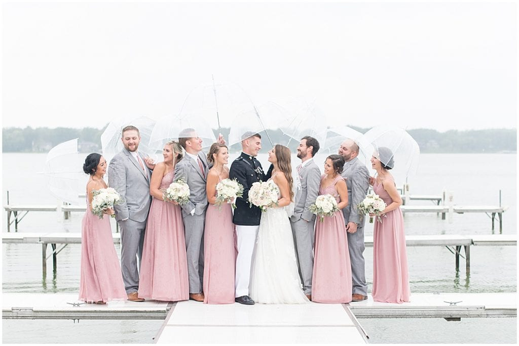 Bridal party photos on pier outside of the Lighthouse Restaurant in Cedar Lake, Indiana