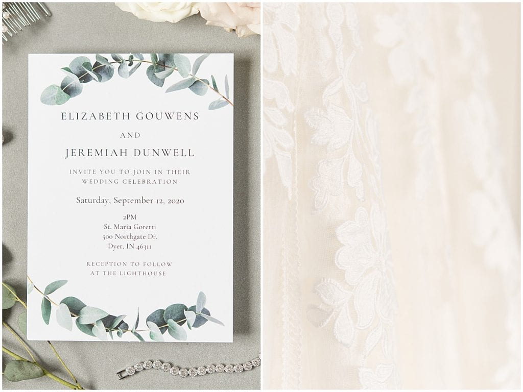 Invitation to wedding at the Lighthouse Restaurant in Cedar Lake, Indiana