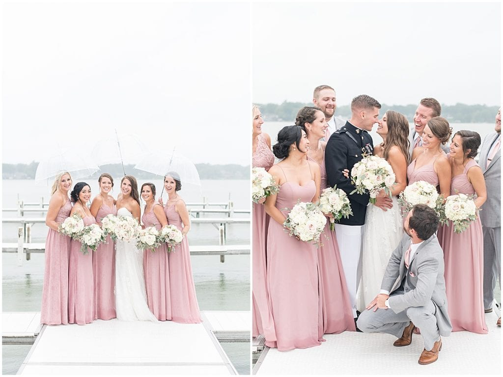 Bridal party having fun on pier outside of the Lighthouse Restaurant in Cedar Lake, Indiana