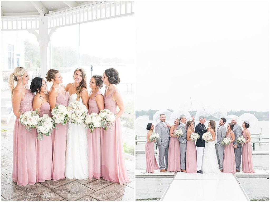 Bridal party photos outside of the Lighthouse Restaurant in Cedar Lake, Indiana