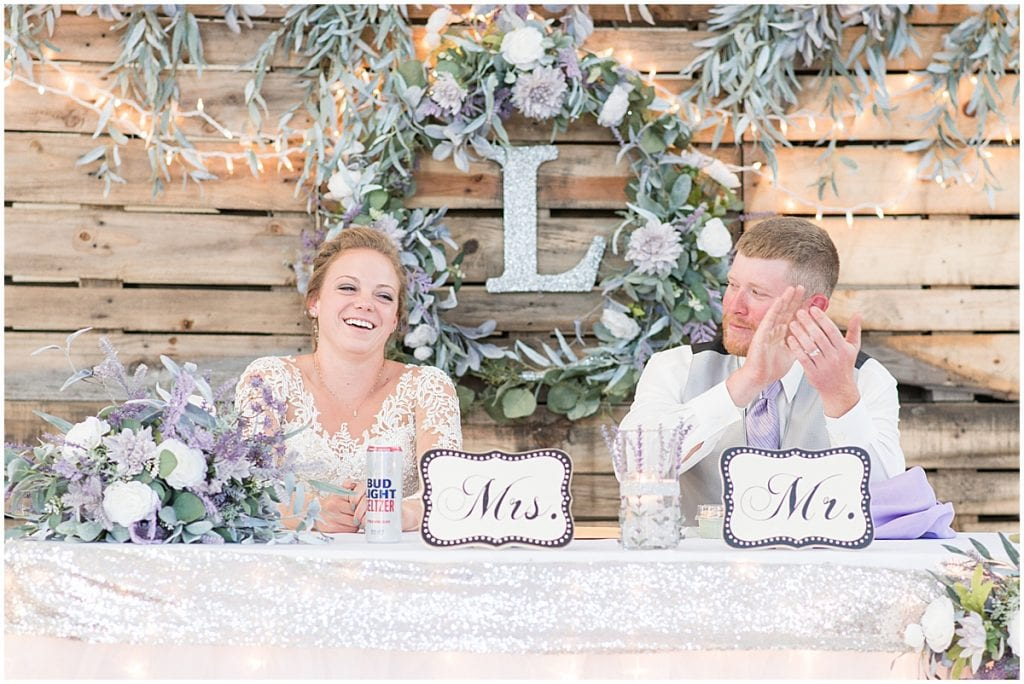 Best man and woman speech for reception at Wagner Angus Barn in Wolcott, Indiana