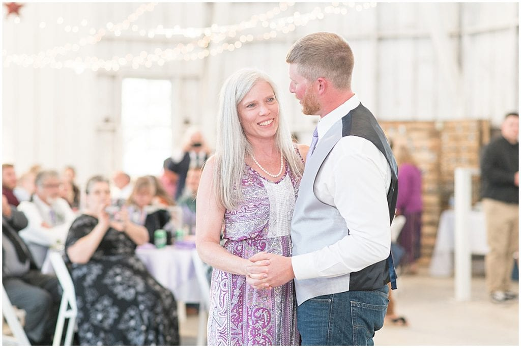 Mother son dance at Wagner Angus Barn in Wolcott, Indiana