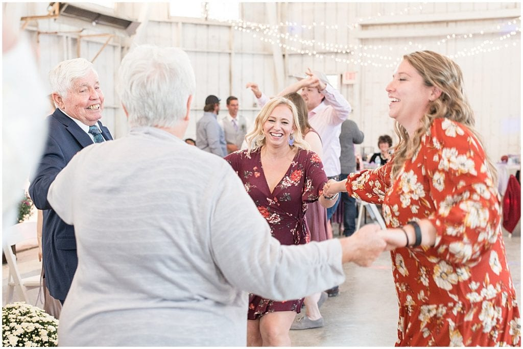 Dancing photos for wedding at Wagner Angus Barn in Wolcott, Indiana