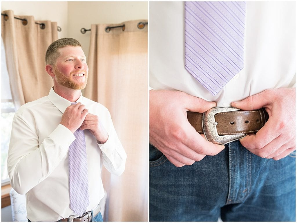Groom detail shots for wedding at Wagner Angus Barn in Wolcott, Indiana