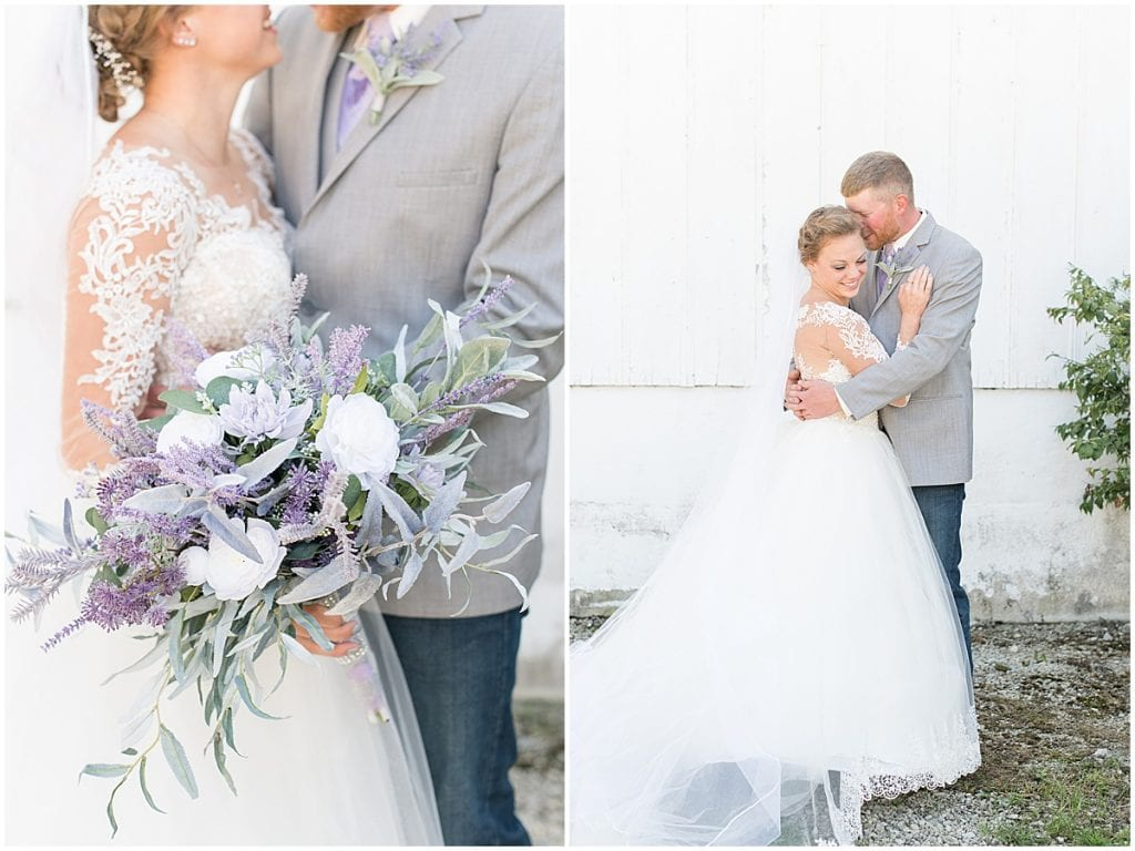 First look for wedding at Wagner Angus Barn in Wolcott, Indiana
