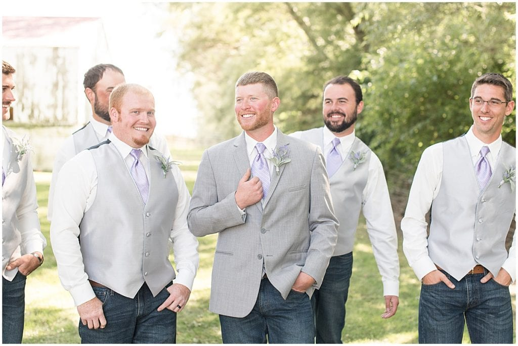 Bridal party photos for wedding at Wagner Angus Barn in Wolcott, Indiana