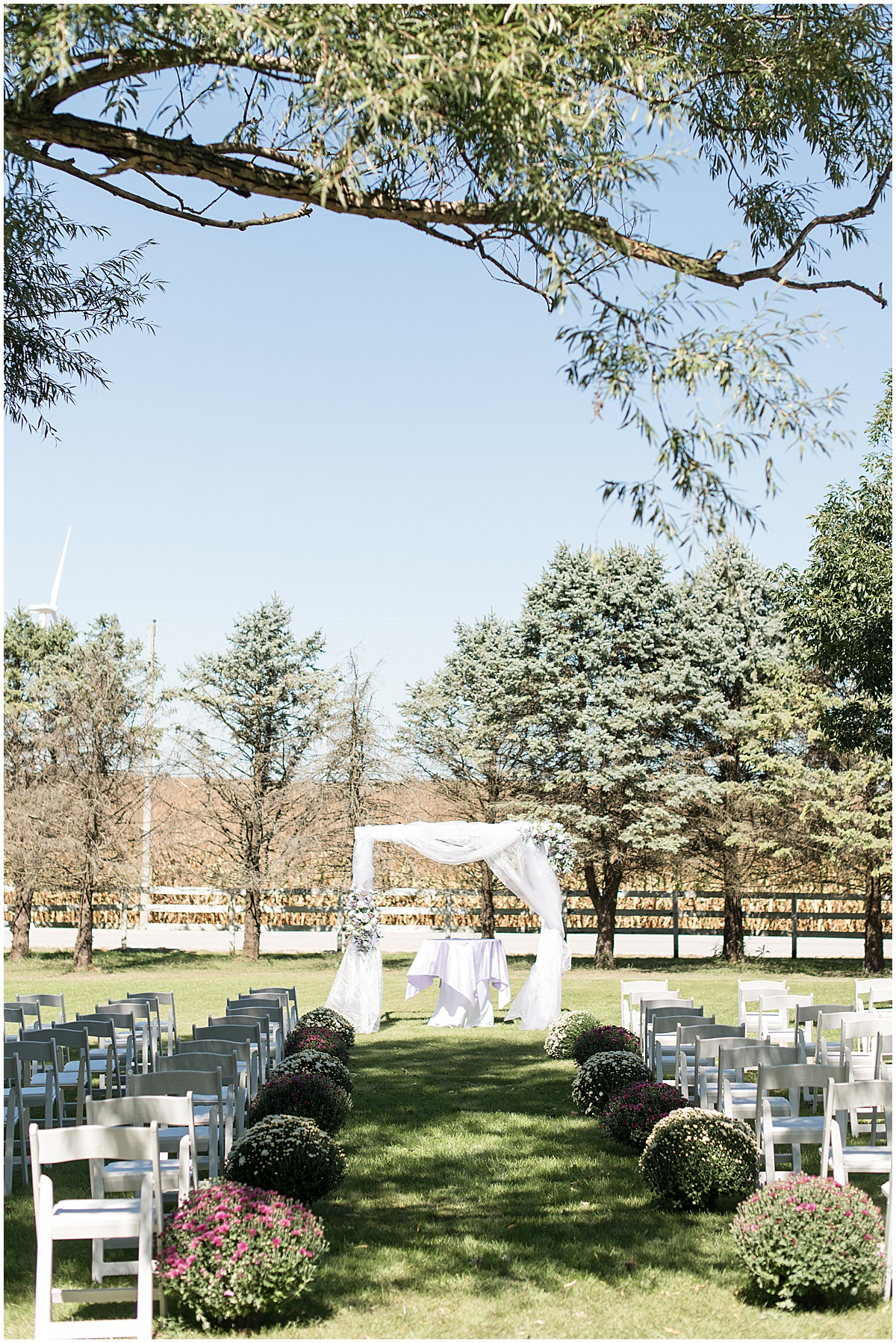 Ceremony detail photos for wedding at Wagner Angus Barn in Wolcott, Indiana