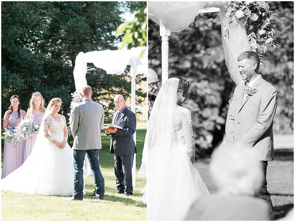 Ceremony photos for wedding at Wagner Angus Barn in Wolcott, Indiana
