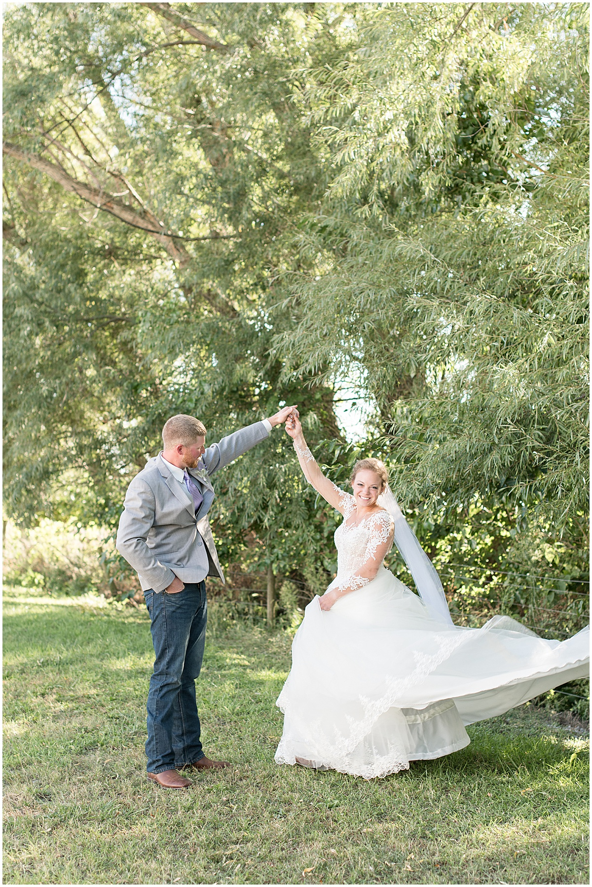 Bride and groom photos for wedding at Wagner Angus Barn in Wolcott, Indiana