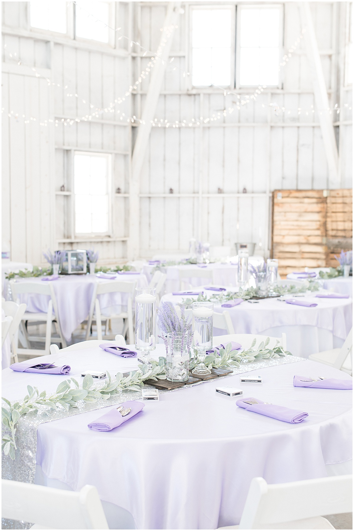 Reception detail photos for wedding at Wagner Angus Barn in Wolcott, Indiana