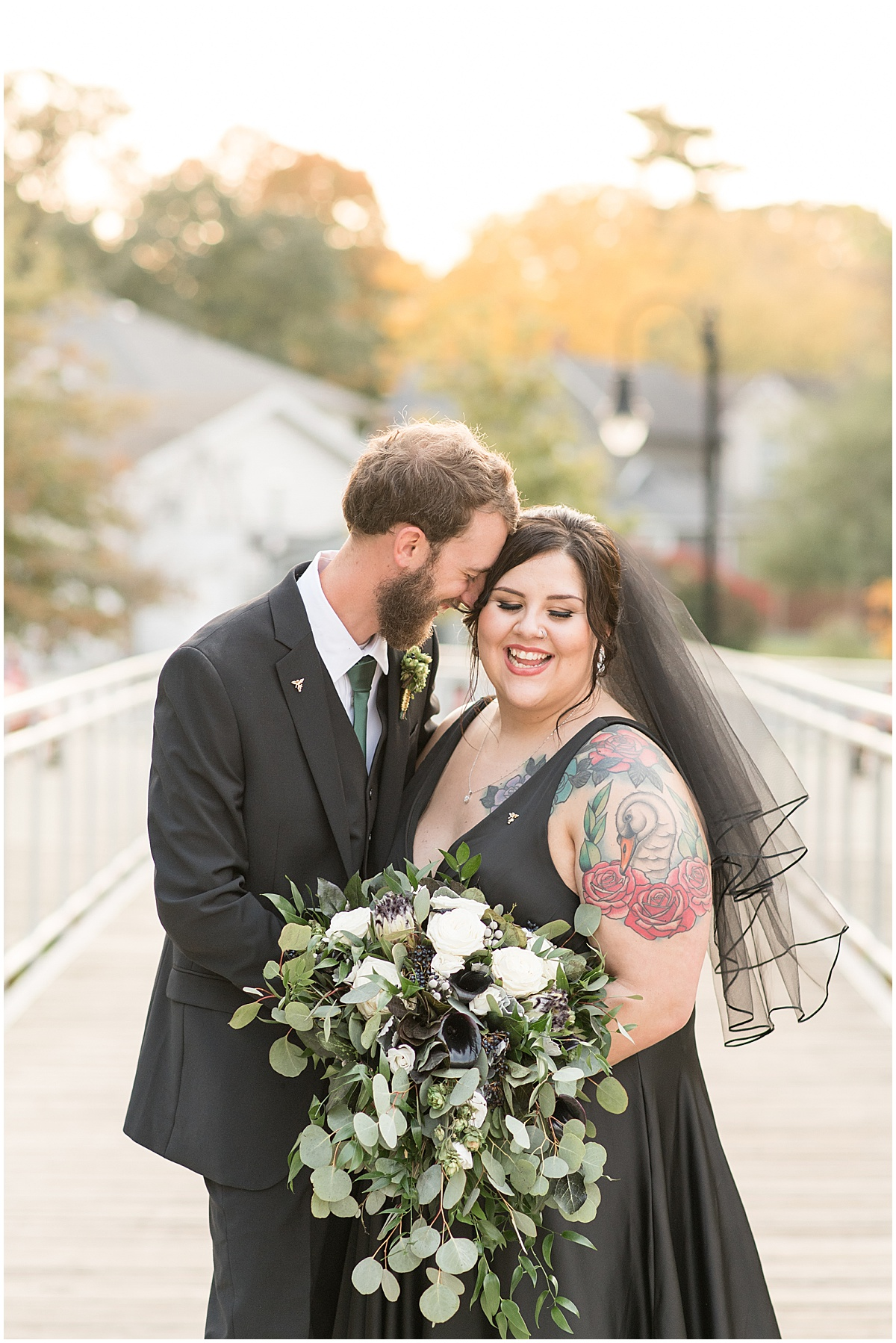 Sunset photos of bride and groom in Rensselaer, Indiana