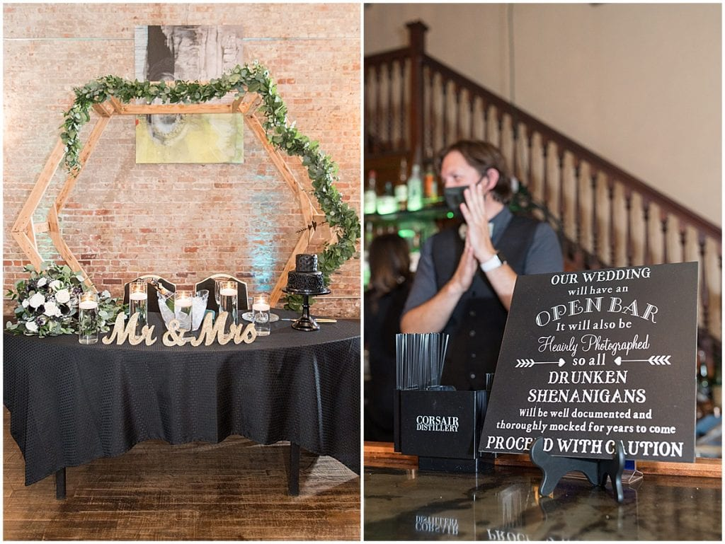 Reception details at eMbers Venue in Rensselaer, Indiana