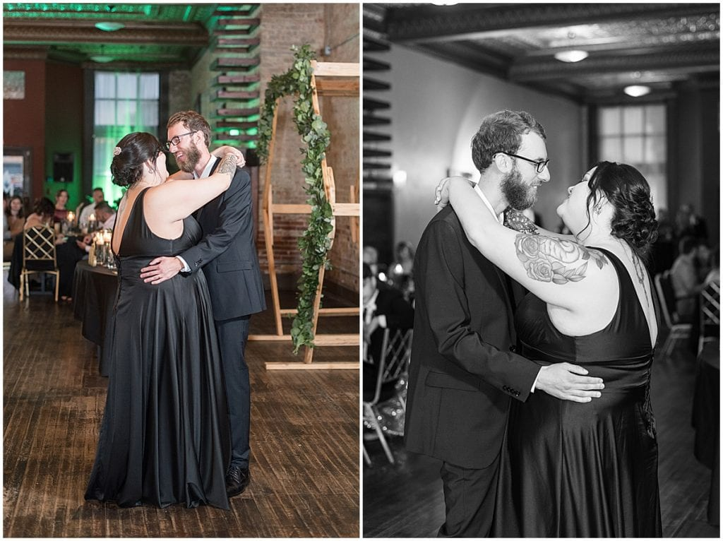 Bride and groom first dance during eMbers Venue wedding reception